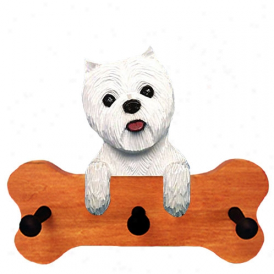 West Highland White Terrier Bone Hang Up Maple Finish