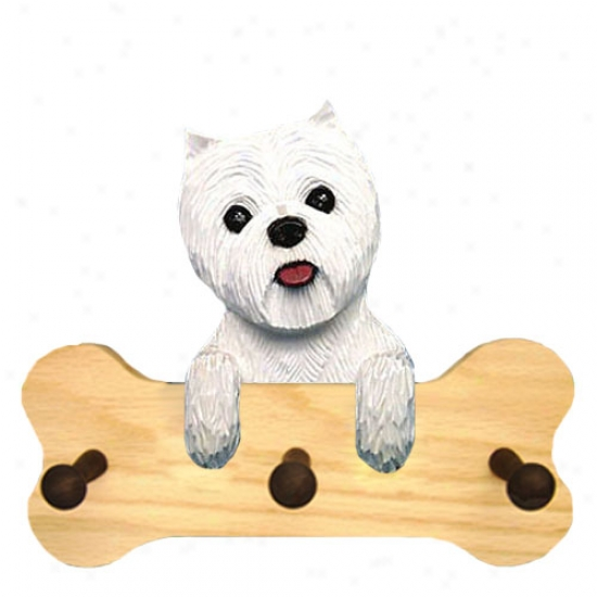 West Highland White Terrier Bone Hang Up Natural Oak