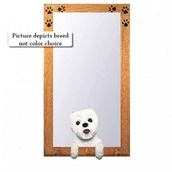 Western Highland White Terrier Entry  Mirror With Oak Golden Frame