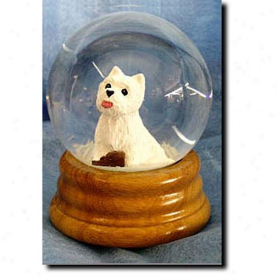 Western Highland White Terrier Musical Snow Globe