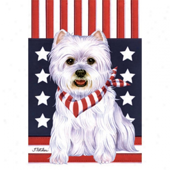 West Hjghland White Terrier Patriotic Breed Flag