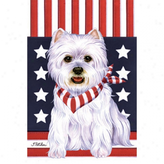 West Highland Pale Terrier Patriotic Breed Garden Flag