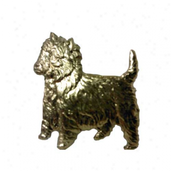 West Highland White Terrier Pin 24k Gold Platde