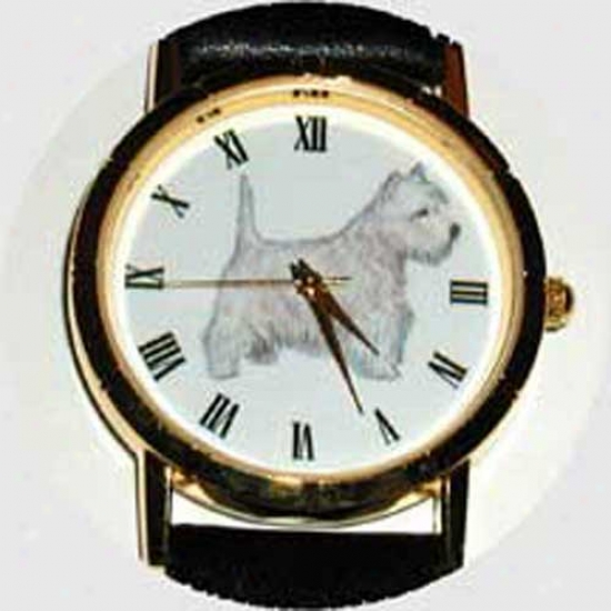 West Highland Pure Terrier Watch - Large Face, Black Leather