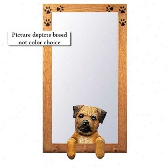 Wheaten Border Terrier Hall Mirror With Oak Natural Frame