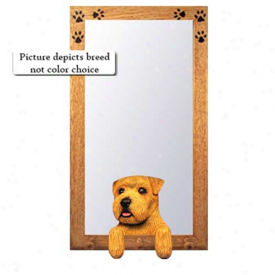 Wheaten Norfolk Terrier Hall Mirror With Oak Golden Frame