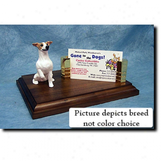 Whippet (brindle And White) Bisiness Card Holder