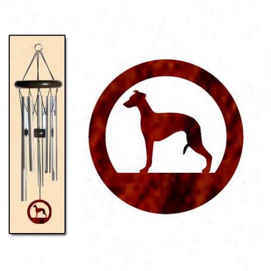 Whippet Wind Chimes Small Silver