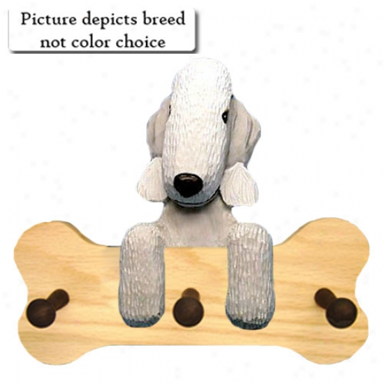 White Brdlington Terrier Bone Hang Up Natural Oak