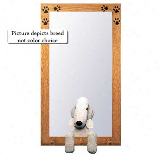 White Bedlington Terrier Hall Mirror With Oak Natural Frame