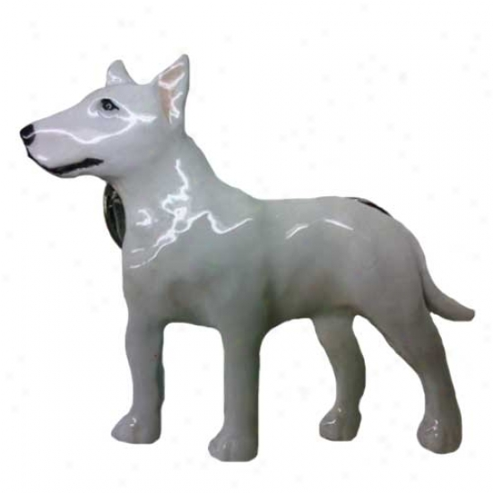 White Bull Terrier Hand Painted Pin