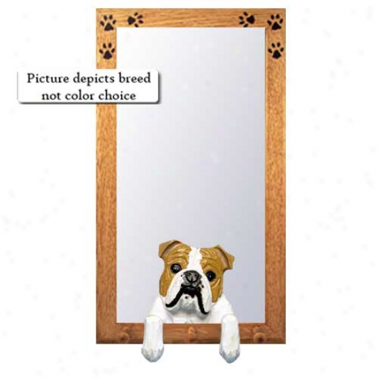 White Bulldog Hall Mirror With Oak Excellent Frame