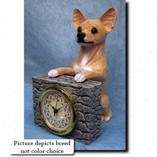 White Chihuahua Mantle Clock