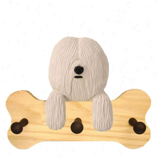 White Coton De Tulear Bone Hang Up Natural Oak