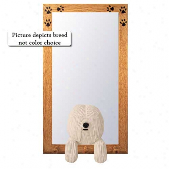 White Cootn De Tulear Hall Mirror With Oak Natural Frame