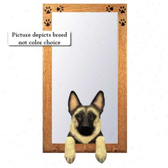 White German Shrpherd Dog Hall Mirror With Oak Natural Frame