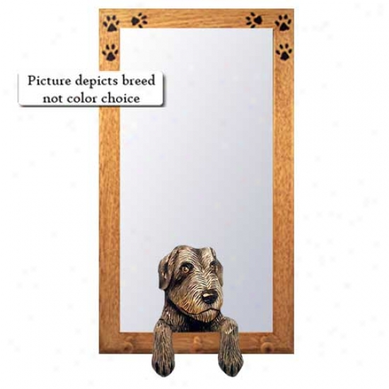 White Irish Wolfhound Hall Mirror With Basswood Walnut Frame