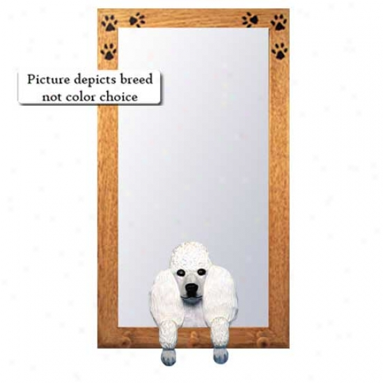 White Poodle Hall Mirror Attending Oa kNatural Frame