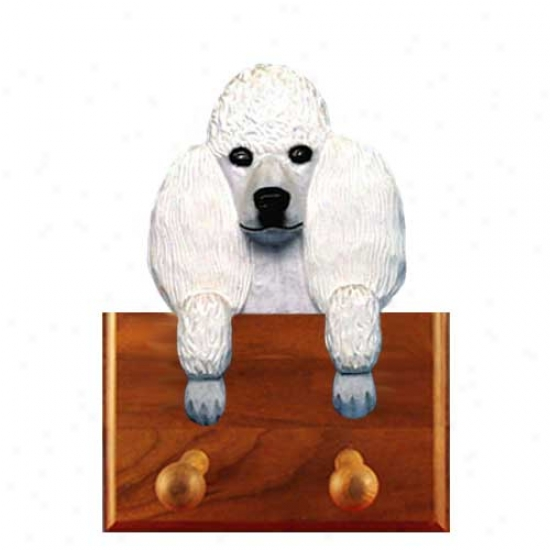 White Poodle Leash Holder
