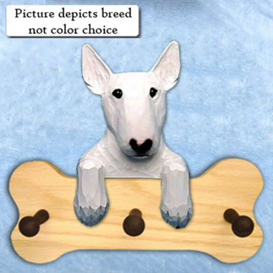 White With Eye Patch Bull Terrier Bone Hang Up Natural Oak