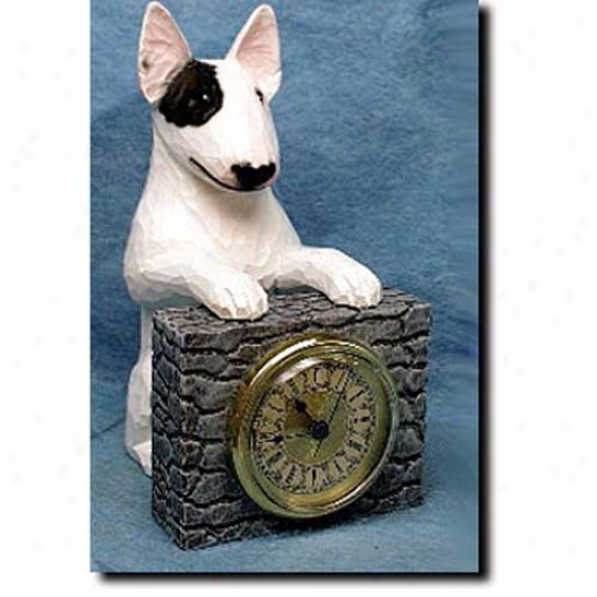 White With Eye Patch Speculator on a rise Terrier Mantle Clock