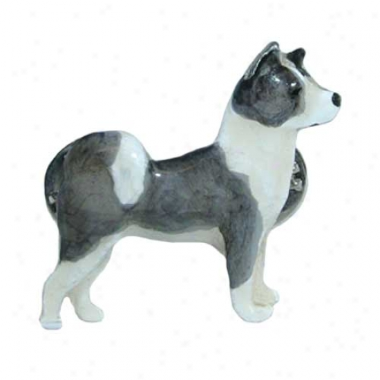 White With Grey Patches Akita Hand Painted Pin