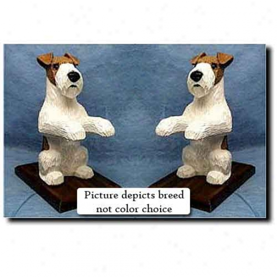 Wire Fox Terrier Bookends Black