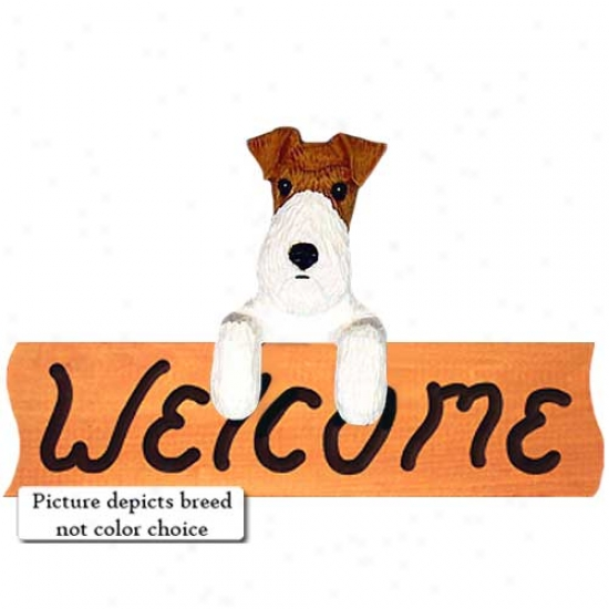Telegraph Fox Terrier Tri Welcome Sign Maple