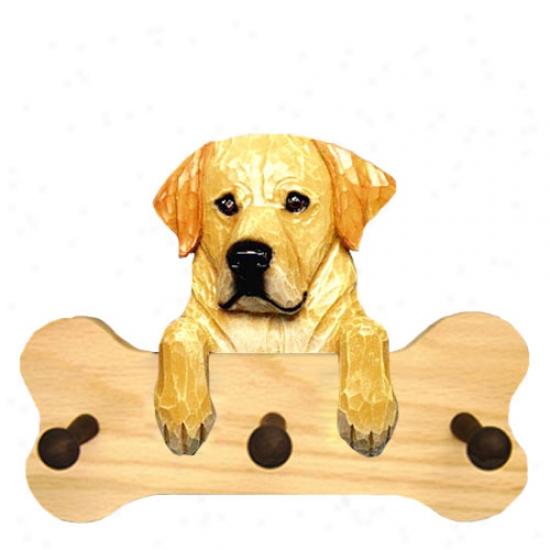 Yellow Adult Labrador Retrieevr Bone Hang Up Natural Oak