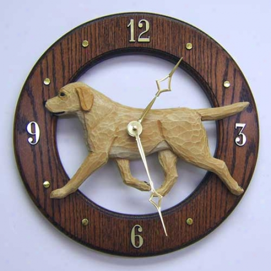 Yellow Labrador Retriever Wall Clock In Dark Oak By Michael Park