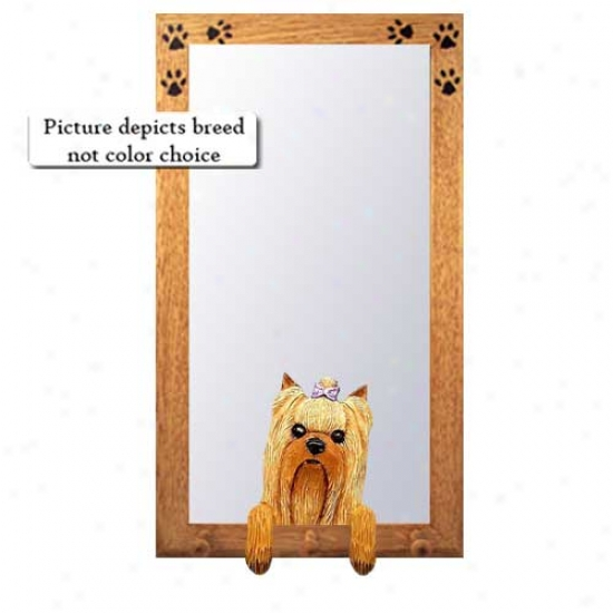 Yorkshire Terrier Hall Mirror Attending Basswood Pine Frame