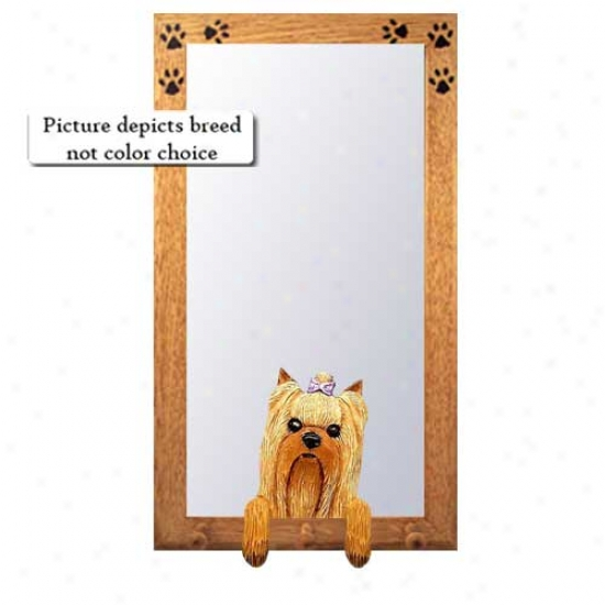 Yorkshire Terrier Hall Mirror With Basswood Walnut Fram3