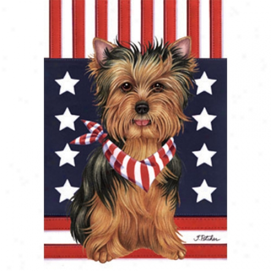Yorkshire Terrier Patriotic Breed Garden Flag