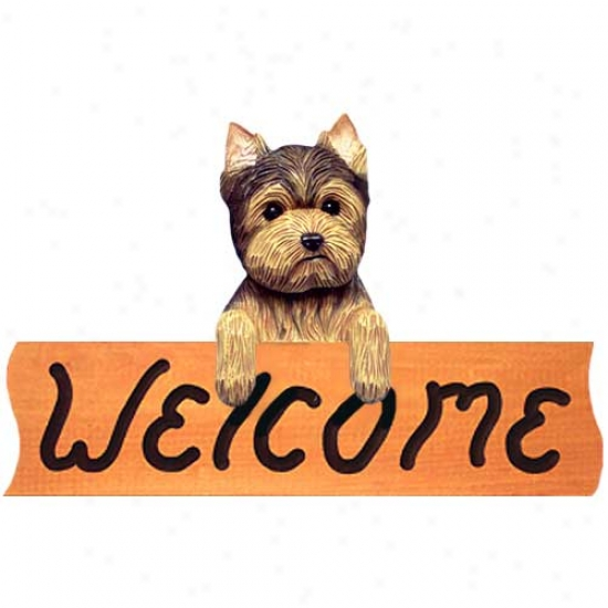 Yorkshire Terrier Puppy Clip Welome Sign Maple