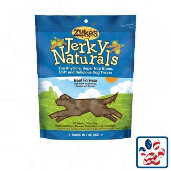 Zukes Jerky Naturals Dog Treats 6oz Beef